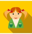 School girl in uniform icon flat style vector image