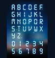 glow digital alphabet and number for digital text vector image