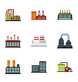 industrial building icons set flat style vector image