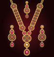 a set jewelry necklace and earrings for wedding vector image vector image