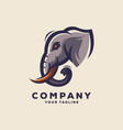 awesome elephant head logo design vector image vector image