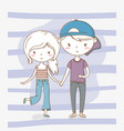 beautiful little kids couple with patel colors vector image