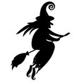 black silhouette of a witch flying on a broomstick vector image vector image