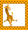 card template with giraffe vector image vector image