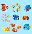 cartoon sea fishes set on a blue background vector image vector image
