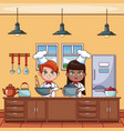 chef kids at kitchen vector image vector image