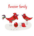 chicken family - rooster hen chicken and egg vector image