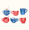 christmas cups flat set vector image