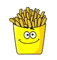 Delicious golden crispy French fries in a packet vector image vector image