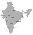 detailed map of the india vector image vector image
