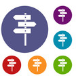 direction signs icons set vector image vector image