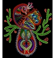 ethnic folk art of peacock bird with flowering vector image vector image