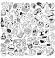 fast food doodles vector image