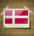 Flags Denmark at frame on a brick background vector image