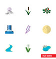 flat icon bio set of pond cattail lightning and vector image vector image