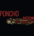 free crochet poncho patterns text background word vector image vector image