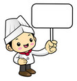 funny chef character is holding a picket isolated vector image