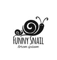 funny snail black silhouette for your design vector image