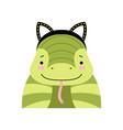 funny snake wearing ear headband cute cartoon vector image vector image