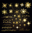 golden silver glitter particles effect snowflakes vector image