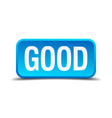good blue 3d realistic square isolated button vector image vector image
