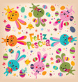 happy easter in spanish retro design vector image vector image
