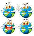 Happy face on earth vector image vector image