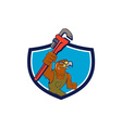 Hawk Mechanic Pipe Wrench Crest Cartoon vector image vector image