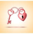 heart lock with key vector image vector image