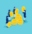 isometric people with golden coins stack them in vector image