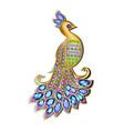 jewelry brooch peacock with precious stones vector image vector image