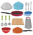 kitchenware and cooking equipment icon set vector image