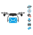 Mail Delivery Drone Icon With Free Bonus vector image vector image