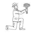 man gives flowers bouquet coloring book vector image