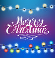merry christmas blue background glittering garland vector image vector image