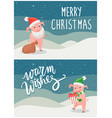 merry christmas warm wishes postcards happy pigs vector image vector image