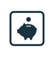 moneybox piggy icon Rounded squares button vector image