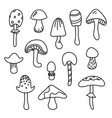 mushroom isolated black cartoon outline set autumn vector image vector image