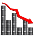 Oil Barrels Arranged In Bar Graph Form Down Trend vector image