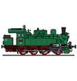 Old green steam locomotive vector image vector image