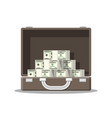 open leather suitcase full of money vector image