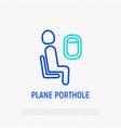 passenger sits near porthole thin line icon vector image