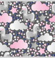 pattern with cartoon pony clouds and stars vector image vector image