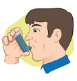 person using inhaler for asthma vector image vector image