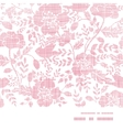 Pink textile birds and flowers horizontal frame vector image vector image