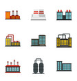 power plant icons set flat style vector image vector image