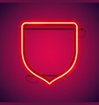 red neon shield shape vector image vector image