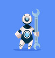 robot holding wrench cyborg isolated on blue vector image