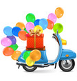 scooter with balloons and gift vector image