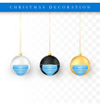 set christmas balls with face mask holiday vector image vector image